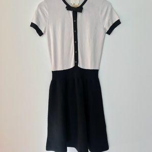Kate Spade A Line Bow Dress Cream Black SZ SM